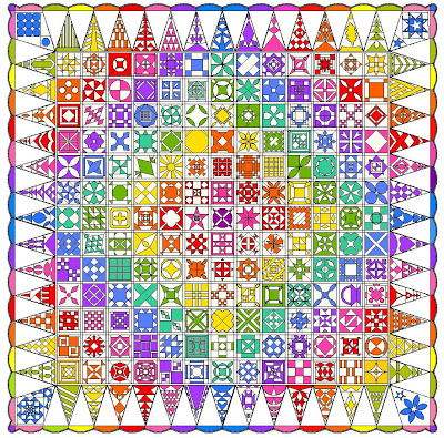 rainbow jane, block of the month, at twiddletails.com
