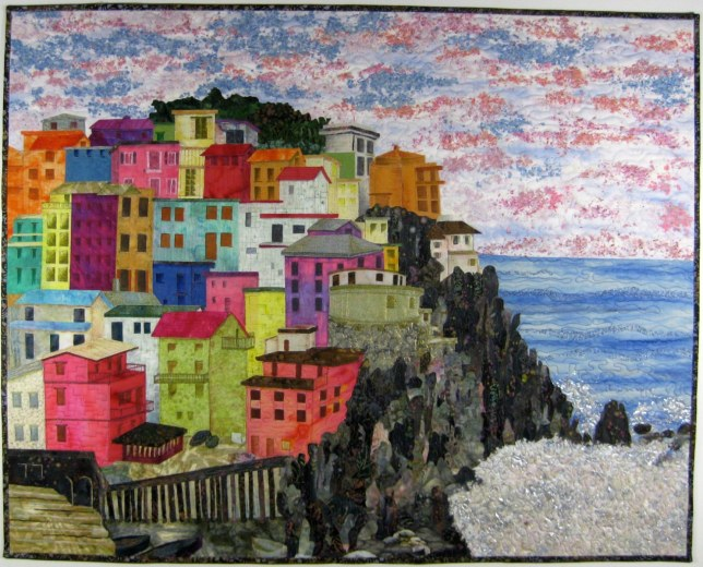 Sally-Manke-Art-Quilt-Manarola-Italy-Confetti-Applique-Wall-Hanging-1486x1200